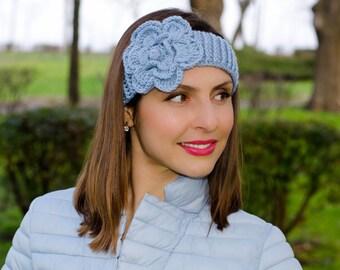 Light blue crochet flower headband, headband with flower, womens crochet headbands, womens knit headband, winter headband, winter ear warmer