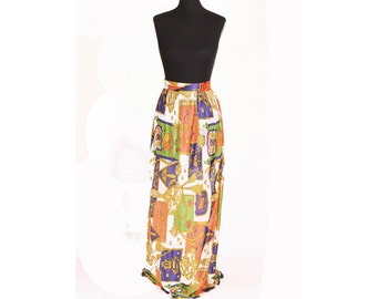 Vintage 1970s Bright Bollywood Ropes Long Maxi Skirt size S