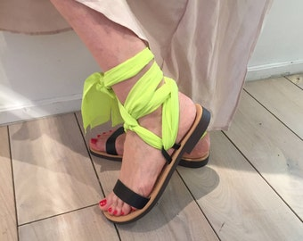 Leather Sandals. Greek Leather Sandals.FREE SHIPPING in the USA, Black Women Sandals. Scarf Lace Up Leather Sandals.