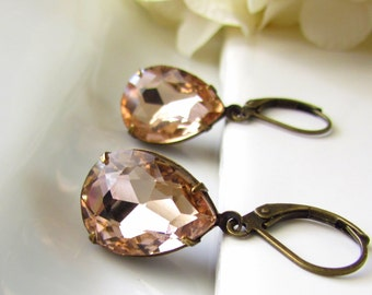 Peach Glass Earrings, Vintage Style Earrings, Teardrop Earrings, Antiqued Brass, Dangle Earrings, Peach Bridesmaid Jewelry