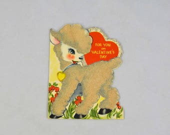 Vintage American Greetings Valentines Day Card, Lamb With For You On Valentine's Day Child's Ephemera Card