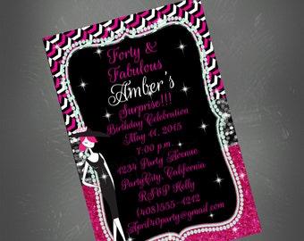40th Birthday Invitation, 40th Party, Pink and Black Invite, Glitter Invitation, Printable Invite,40th,Birthday Invitation,Female Birthday