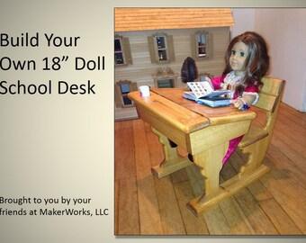 18 in.Doll School Desk Woodworking Plans, Great for American Girl Dolls!