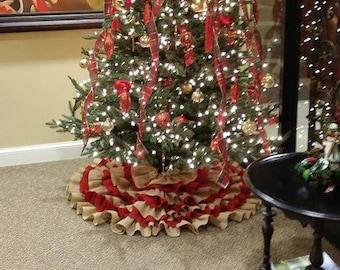Hand sewn Ruffled Burlap Christmas Tree Skirt