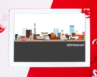 Cityscapes Print - Birmingham Print - Birmingham Skyline Wall Art - Graphic Print of Birmingham - Holiday Souvenir