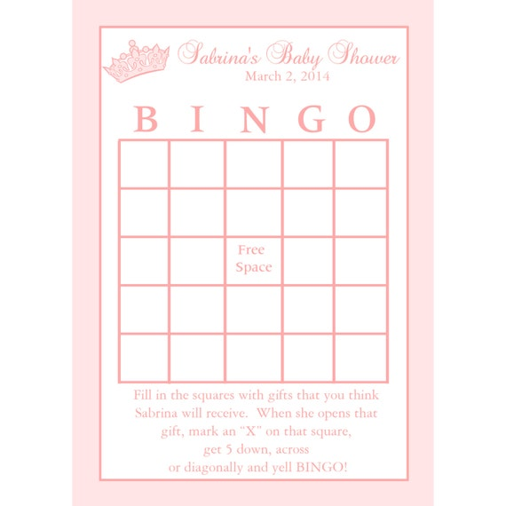 24 Personalized Baby Shower BINGO Cards Princess Crown