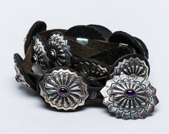Southwestern Concho Belt - Vintage Taos Gallery - Sterling Amethyst Leather  200g - Adjustable