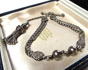 Antique Victorian Stirling Silver Albertina Fob Watch Chain