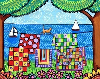 Quilt colourful Cat orange tabby,ocean, print Nova Scotia - Shelagh Duffett