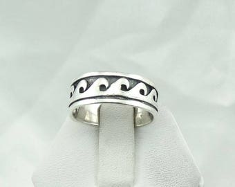 Surf's Up...Catch A Wave! With This Solid Sterling Silver Band/Ring Size 7 3/4  #SURF-SR4