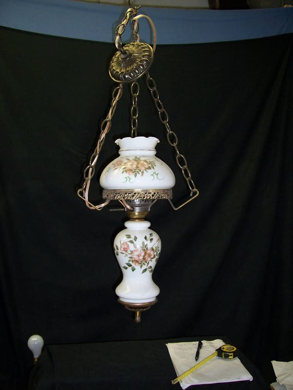 Hanging Milk Glass Gone With The Wind Lamp With Hand Painted