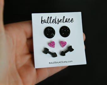 Sale Trio, Earrings, Stud Earrings. Druzy earrings, Faux Druzy, Valentines Day