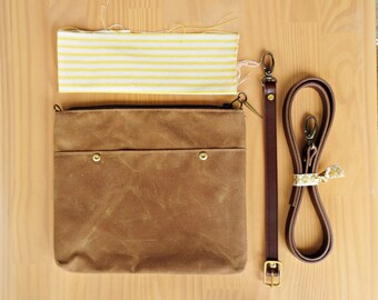 Waxed Canvas Crossbody Clutch Bag in Saddle Brown with Vintage Style Yellow Ticking Lining and Leather Strap, Waxed Canvas Cross Body Purse