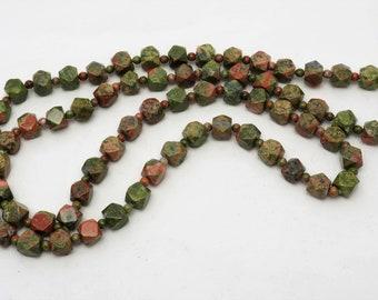 Beautiful Retro Handmade pink & green Unakite natural gemstone long beaded necklace