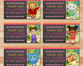 Daniel Tiger Birthday Party Tags   Pink Chalkboard   Girl Daniel Tiger  Favor Tags   Daniel Tiger Birthday Party   Daniel Tiger Goody Bag Tag