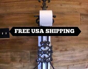 Free Standing Toilet Paper Holder | Toilet paper storage | Toilet paper stand | Cast iron | FleurDeLisJunkie | Toilet tissue| Tissue storage
