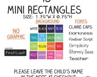 """98 - No Graphic -Kid's Name Label Stickers 1.75"""" x 0.5"""" Mini Rectangles - Waterproof, Dishwasher Safe for School, Daycare, Camp"""