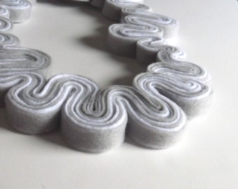 Statement Necklace Stripes Felt Necklace Felted Jewelry Recycled Eco Friendly Felt Bib Necklace In Grey Gray White