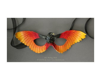 Sun Starling Leather Mask - Fantasy Phoenix Firebird Bird Wing Costume Mask