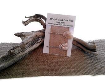 Seashell Bobby Pins, Beach Hair Accessories, Mermaid Hair Pins, Natural Florida Seashells, Handmade Gift for Women and Girls By DonnaLeeBags