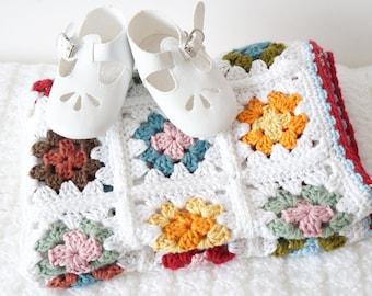 Granny Square, Baby Blanket, Easy Crochet Pattern, Toddler Bedding, Bed Throw, Girl Nursery Blanket, Housewarming Gift, Lounge Decor
