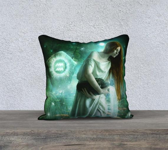 Aquarius fantasy art pillow accent cover