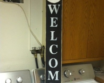 Winter Welcome wood painted sign