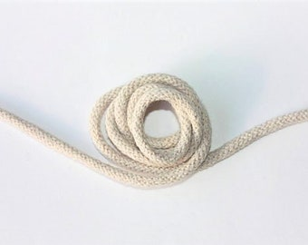3 mm Beige Cotton Rope = 5 Yards = 4.57 Meters of Elegant Cotton Braided Cord Bulky Yarn Super Bulky Yarn Macrame Cotton Cord