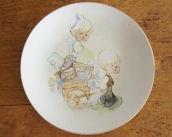 1970s Vintage Enesco Precious Moments 1978 Jonathan and David Collectible Plate