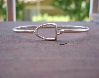 Large Stirrup Bangle Bracelet Sterling Silver Equestrian Jewelry Stirrup Jewelry