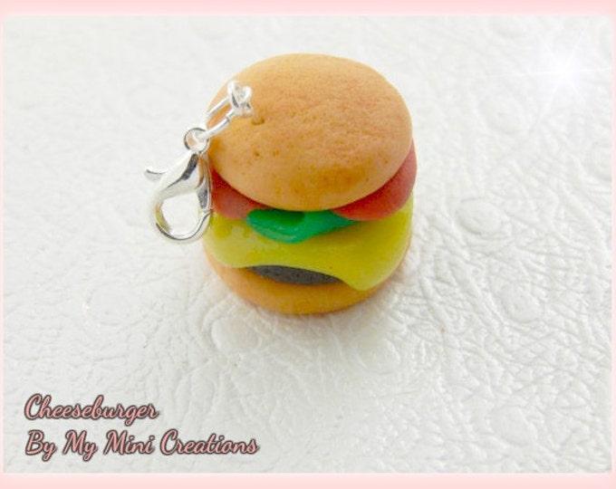 Cheeseburger Charm, Polymer Clay, Miniature Food, Miniature Food Jewelry