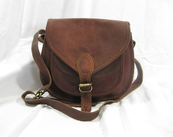 Vintage brown distressed brown oil waxed leather crossbody flap bag purse