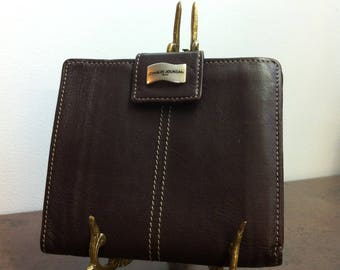 Vintage Mens Wallet - Brown Leather with Stitching - Gift for Him - Fathers Day Present