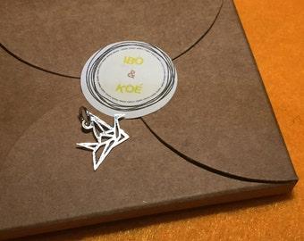 Silver charm for bracelet - Origami