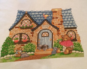 Teddy Bear House completed cross stitch