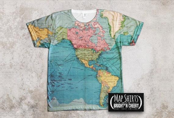 Vintage world map t shirt travel gift all over print shirt gumiabroncs Choice Image