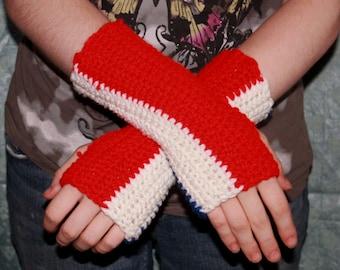 Red, White, and Blue Fingerless Gloves