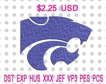 Sale 10% (was 2.50 USD) Kansas State Wildcats Logo Machine Embroidery Design 4 Sizes-INSTANT DOWNLOAD