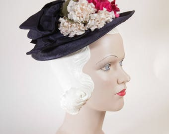 Vintage 1930s Blue Straw Hat w/ Flowers - New York Creation by Designer Marie Belle