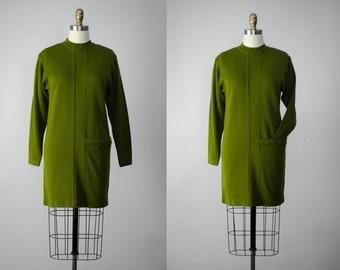 green wool dress | wool mini dress | green mini dress | green shift dress | wool shift dress | long sleeve dress | mod dress