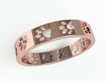 Paws Ring Band - Memorial pet jewelry