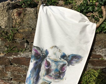 designer contemporary dairy cow art large tea towel , 100%cotton made in uk , by designer and artist nicola jane rowles