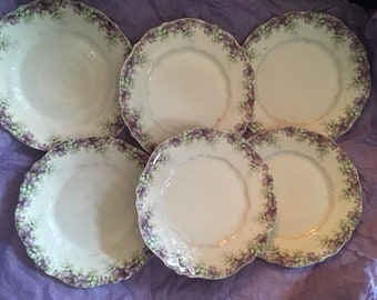 Antique Early 1900s Side Plates Purple Violets Floral Flowers  Carl Tielsch CT   Germany