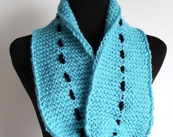 Blue Sky Color Knitted Scarf Collar Necklet Scarflette with Black Cord