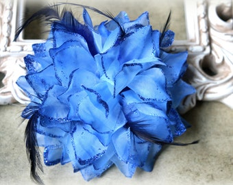 Large Blue Fabric Flowers with Feathers and Glittered Edges approx. 6 inches FL-151