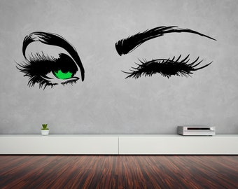 Pair of Beautiful Green Blue Brown Eyes Winking Removable Wall Art Decor Decal Vinyl Sticker Home Decor