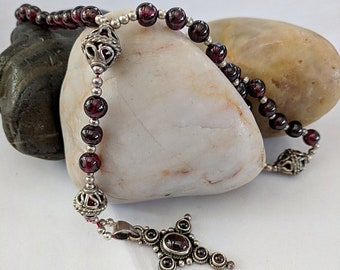 Rosary Garnet and Sterling Silver - 16th c. Standard - Modern Style