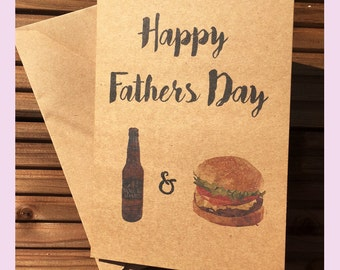 Happy Fathers Day Card - Beer and Burger