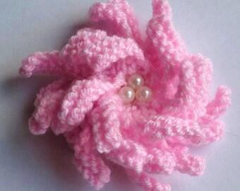 PDF Knitting Pattern Corsage/Flower Brooch Beaded pattern - Easy Knit
