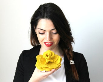 Felt Flower Pin, Yellow Flower, Felt Pin, Wool Felt Flower Pin